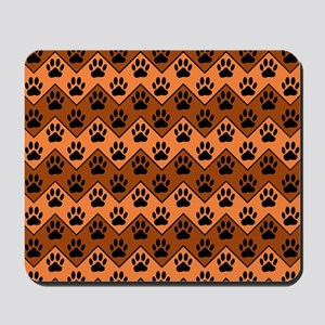 Orange And Brown Chevron With Dog Paws P Mousepad